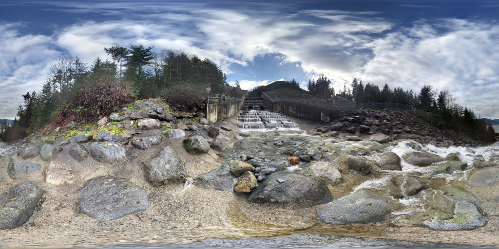 360 degree photosphere of a debris flow retention structure on the Sea to Sky Highway